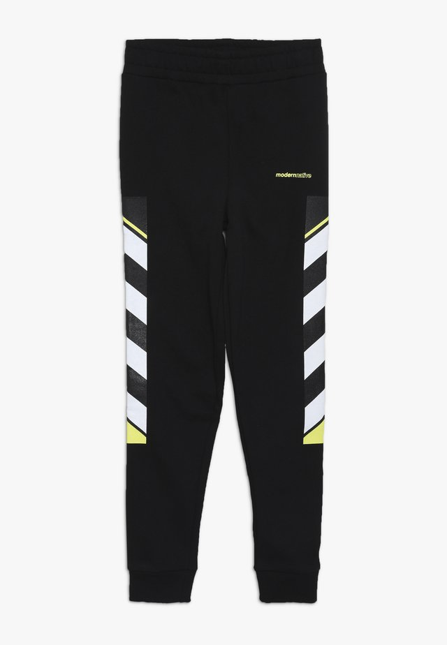 LOOPBACK WITH PRINTED SIDE - Tracksuit bottoms - black
