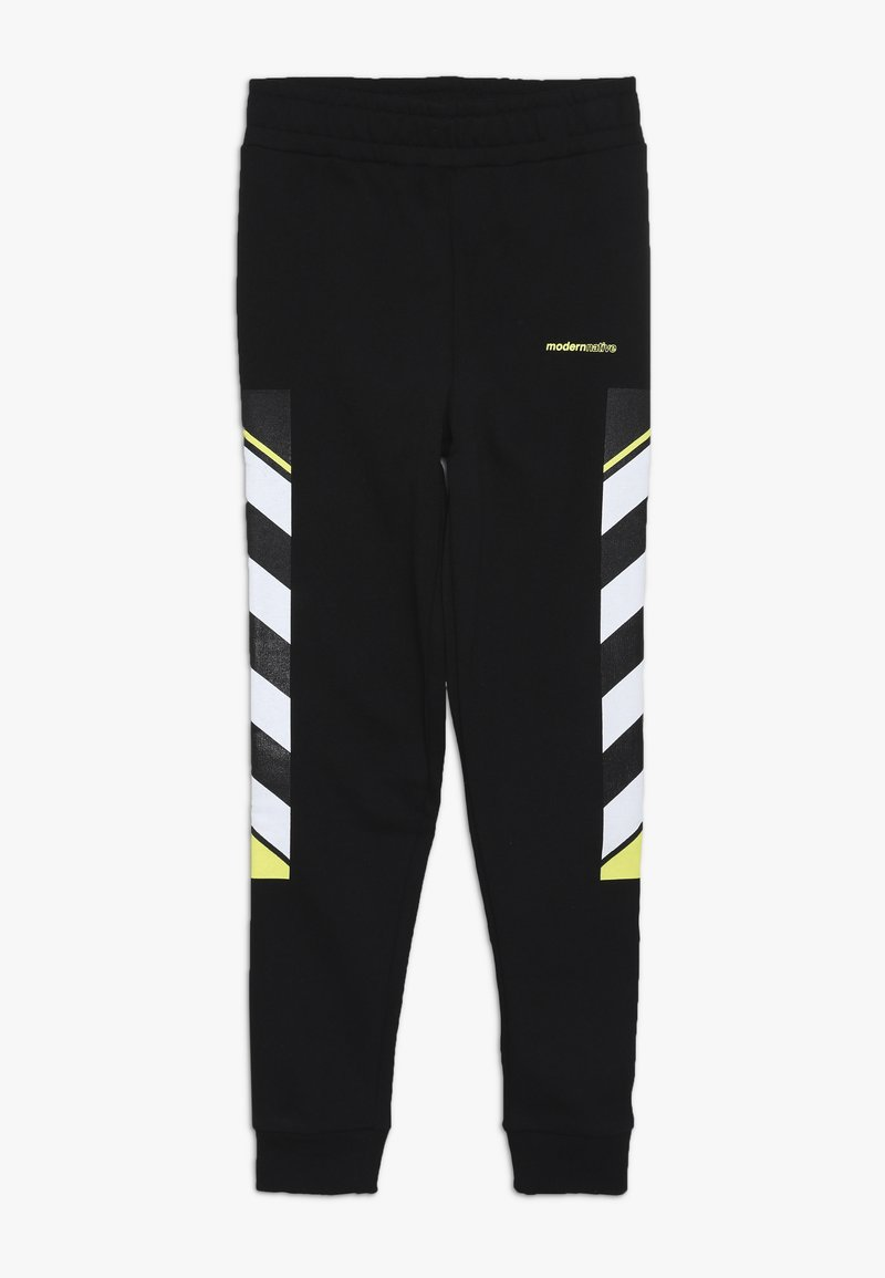 Modern Native - LOOPBACK WITH PRINTED SIDE - Tracksuit bottoms - black