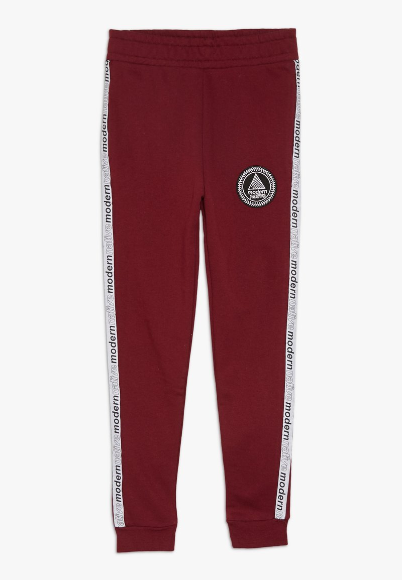 Modern Native - LOOPBACK WITH TAPING AND LOGO - Tracksuit bottoms - burgundy