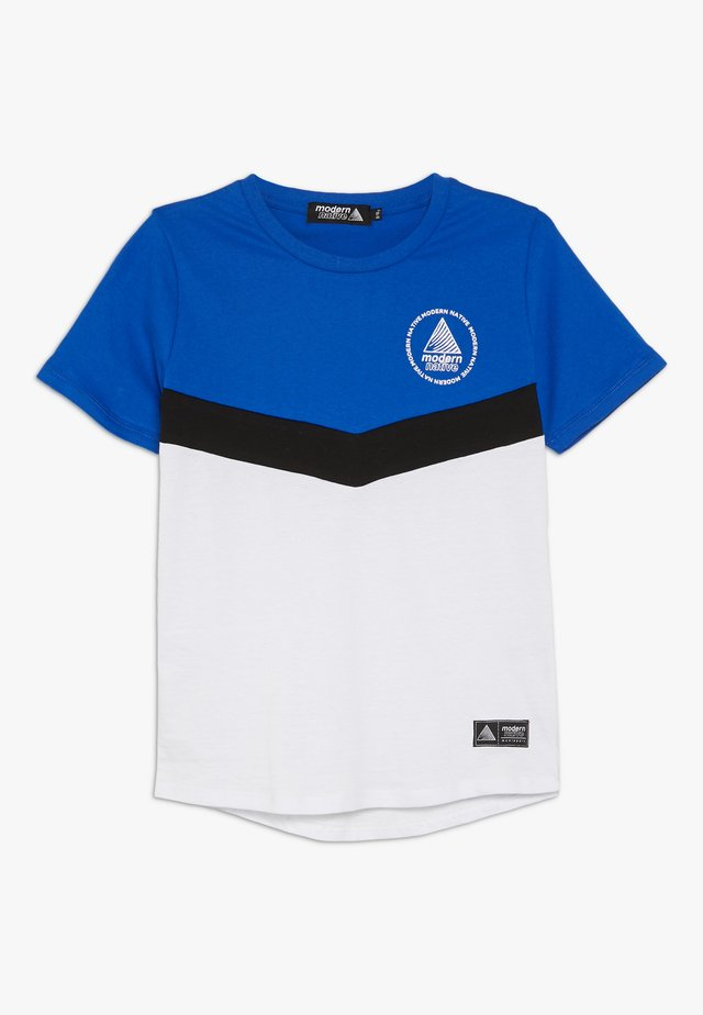 COLOUR BLOCK TEE - Printtipaita - white/blue