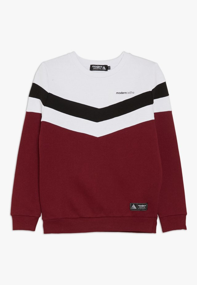 COLOUR BLOCK - Sweater - burgundy
