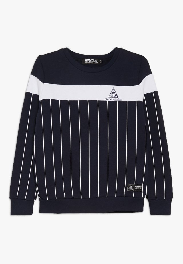 COLOUR BLOCK WITH SCREEN PRINTED STRIPES - Sweater - blue
