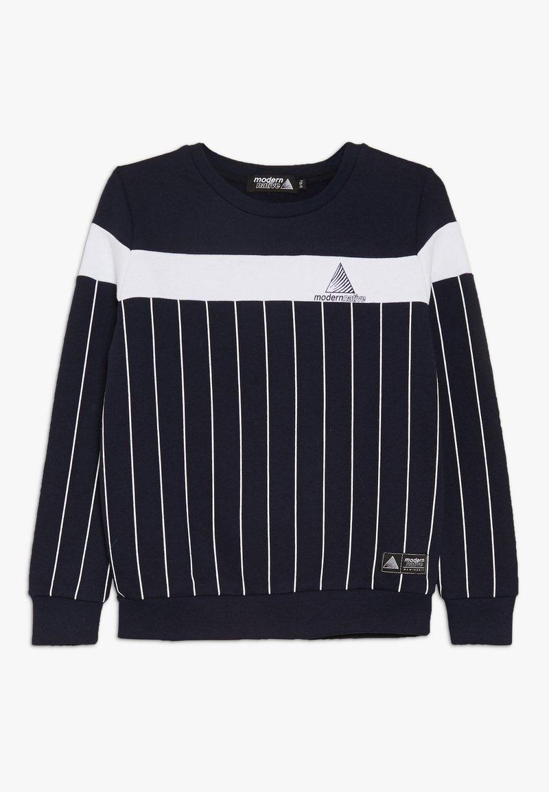 Modern Native - COLOUR BLOCK WITH SCREEN PRINTED STRIPES - Sweatshirt - blue