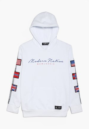 LOOPBACKHOODY WITH BADGES ON SLEEVES AND TAPING - Bluza z kapturem - white