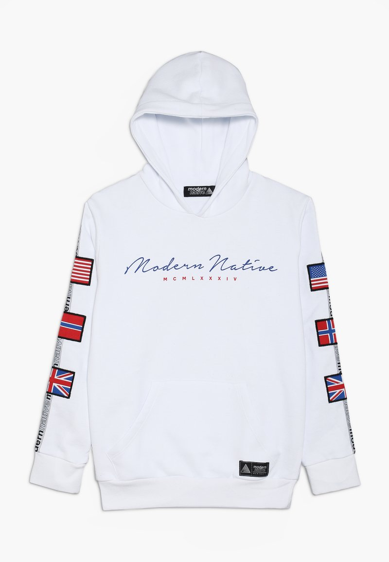 Modern Native - LOOPBACKHOODY WITH BADGES ON SLEEVES AND TAPING - Hoodie - white