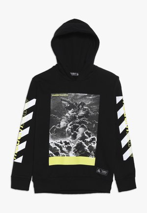LOOPBACK HOODY WITH PRINTED FRONT AND ARMS - Hoodie - black