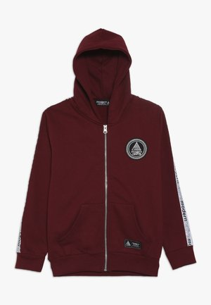 LOOPBACK ZIP HOODY WITH TAPING ON SLEEVES AND EMBROIDERED LOGO - veste en sweat zippée - burgundy