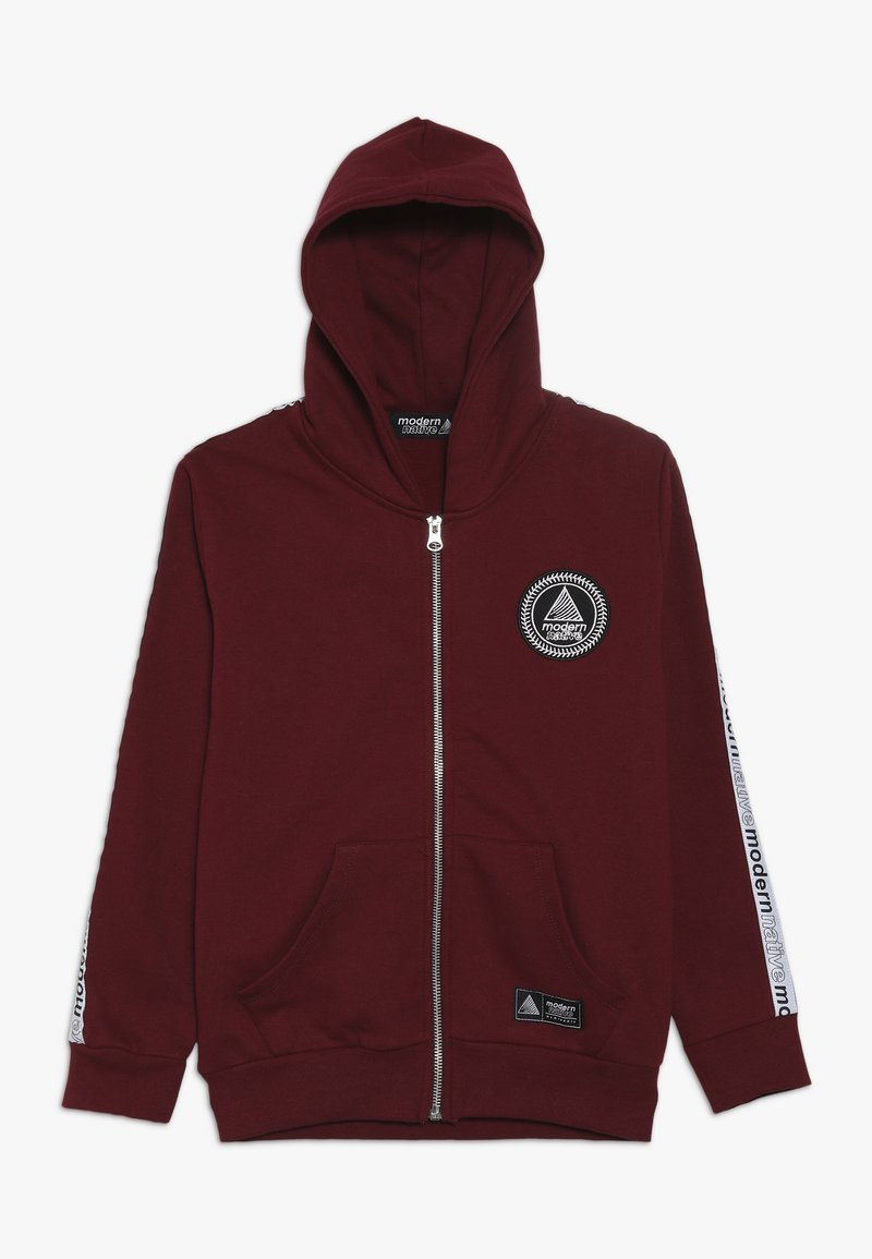 Modern Native - LOOPBACK ZIP HOODY WITH TAPING ON SLEEVES AND EMBROIDERED LOGO - Zip-up hoodie - burgundy