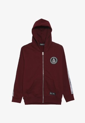 LOOPBACK ZIP HOODY WITH TAPING ON SLEEVES AND EMBROIDERED LOGO - Mikina na zip - burgundy