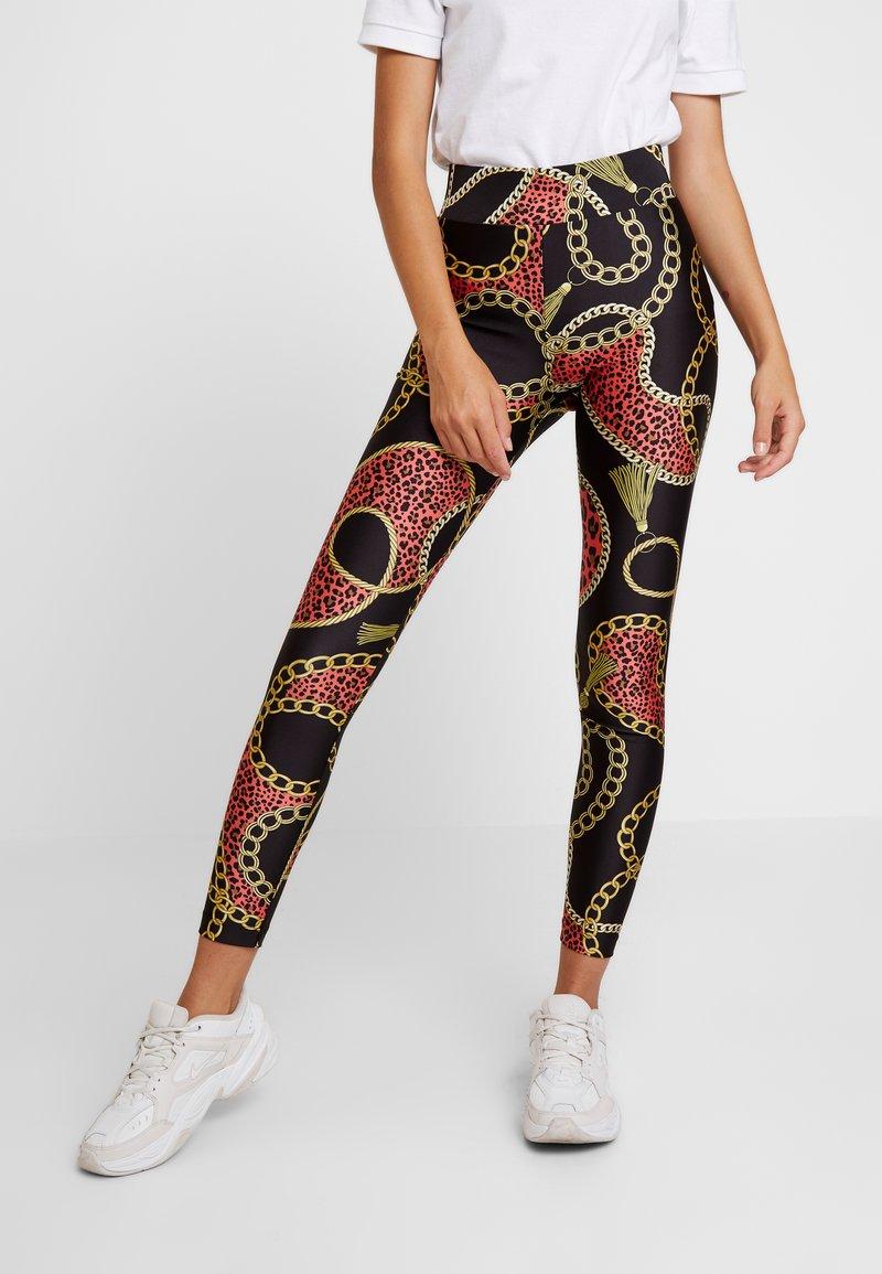 Monki - FRIDA SHINY - Leggings - Trousers - black dark