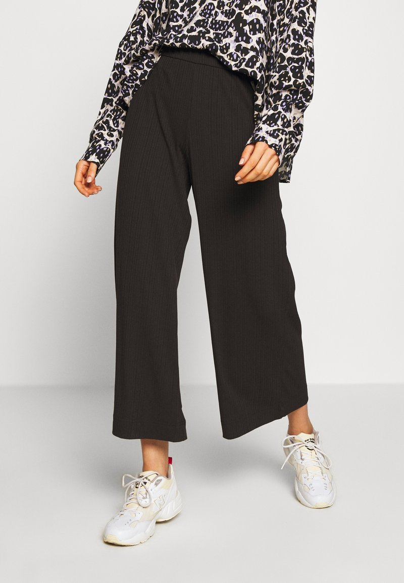 Monki - CILLA TROUSERS - Pantalones - black dark