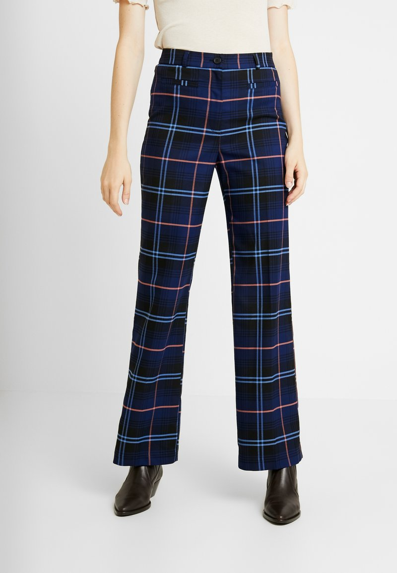 Monki - STACY TROUSERS - Trousers - blue dark geek