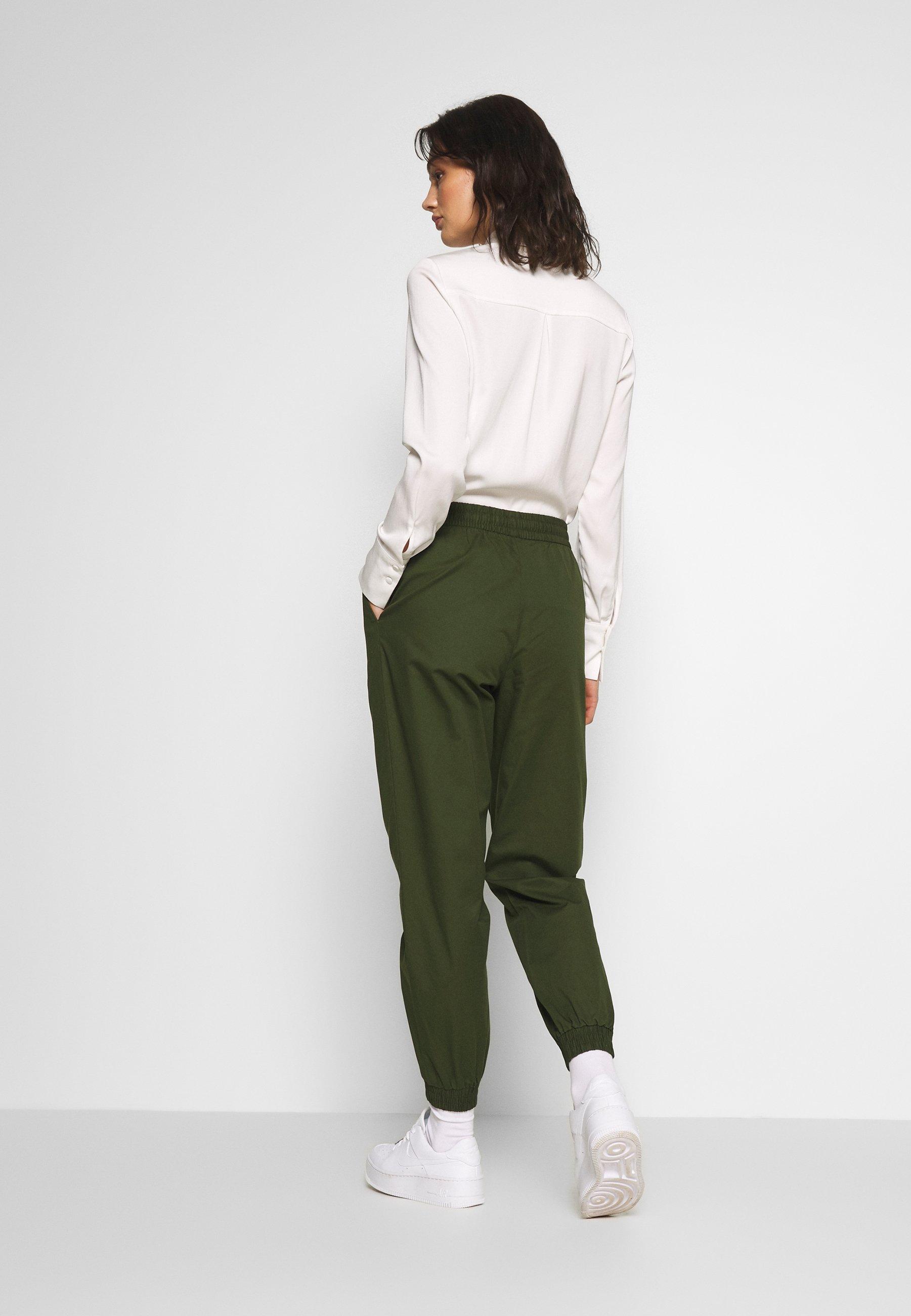 Monki PAM TROUSERS - Spodnie materiałowe - khaki green