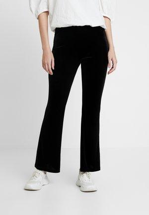 TORA VELVET TROUSERS - Spodnie materiałowe - black