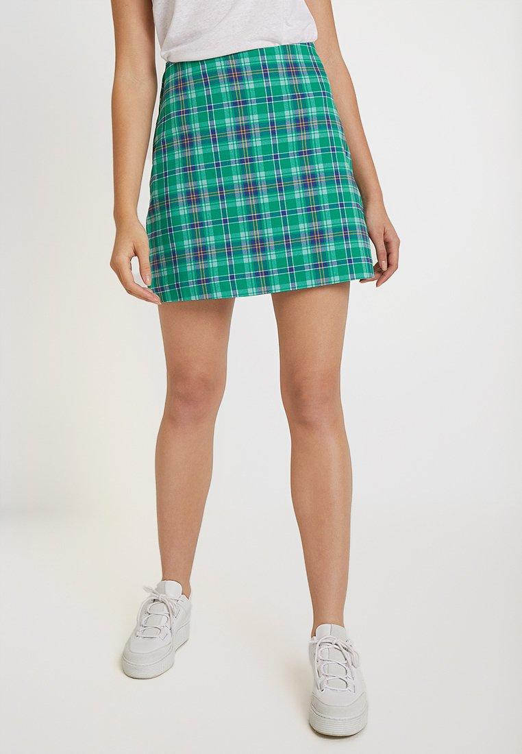 Monki - RIVER SKIRT - Mini skirt - green/blue