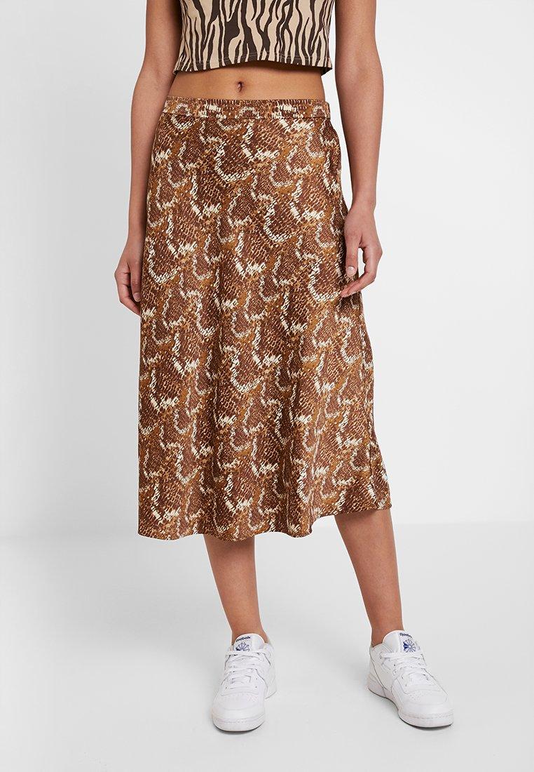 Monki - YULIA SKIRT - Jupe trapèze - snake beige