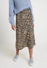 Monki - HALO SKIRT - Maxi skirt - beige/black - 0