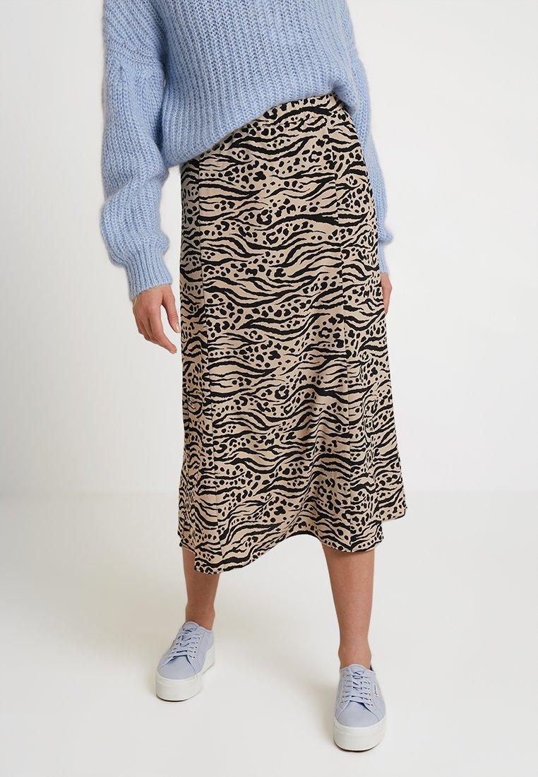Monki - HALO SKIRT - Maxi skirt - beige/black