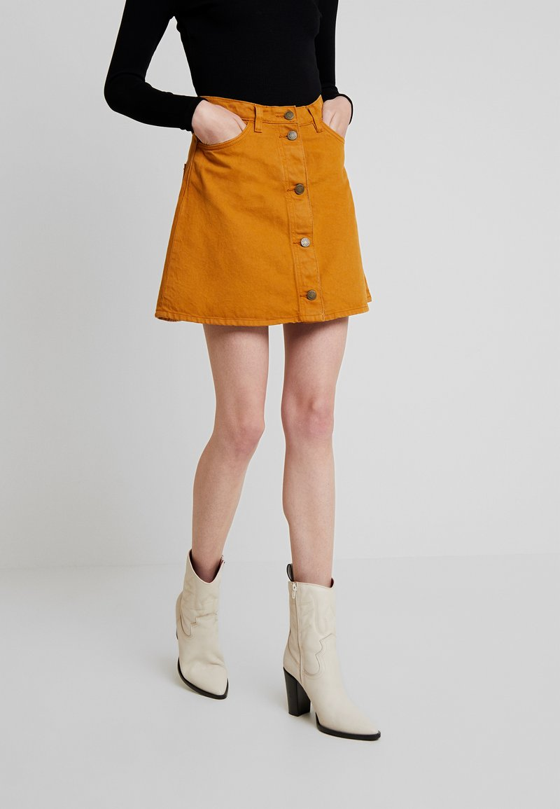 Monki - MARY SKIRT - A-Linien-Rock - tobacco