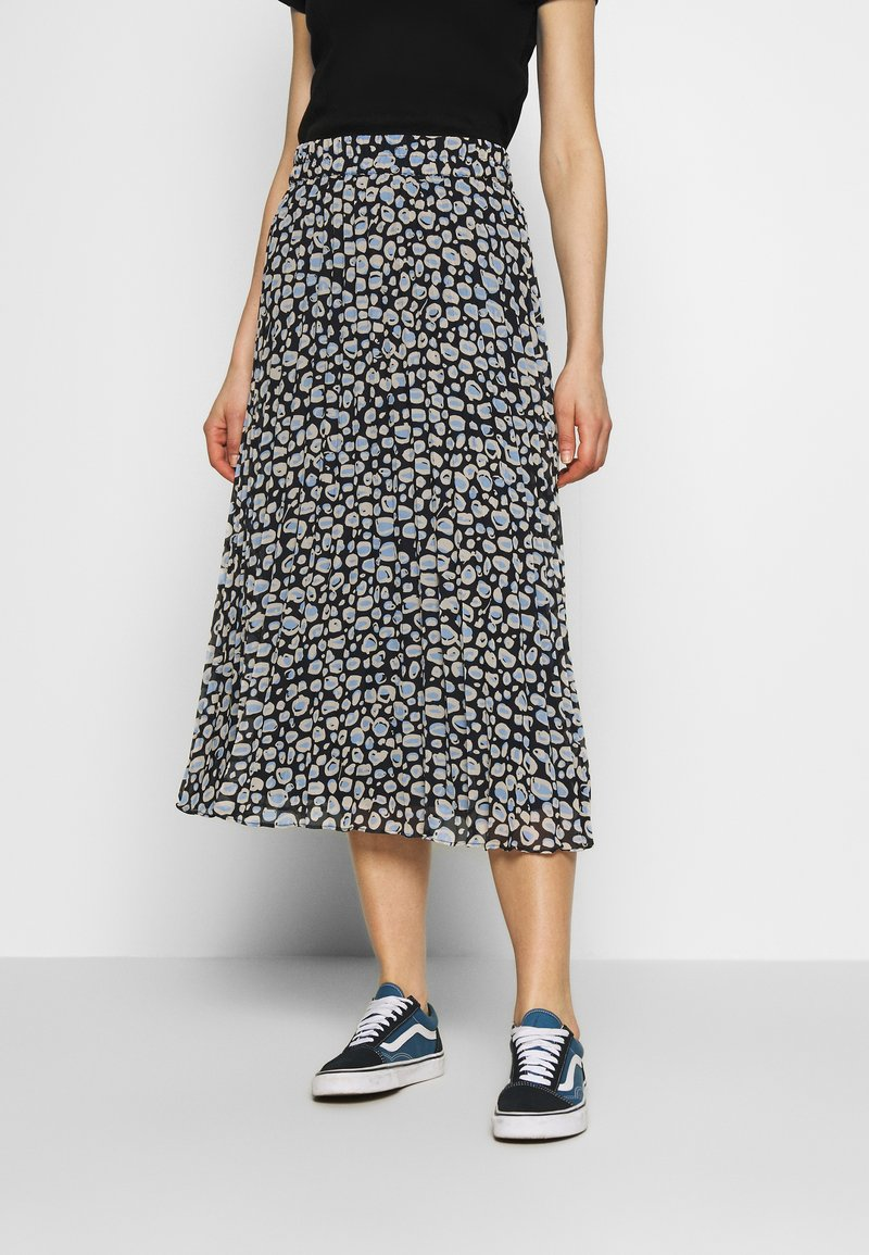 Monki - LAURA PLISSÉ SKIRT - A-linjainen hame - blue dark