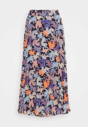LAURA PLISSÉ SKIRT - A-Linien-Rock - blue dark/rosefeathers
