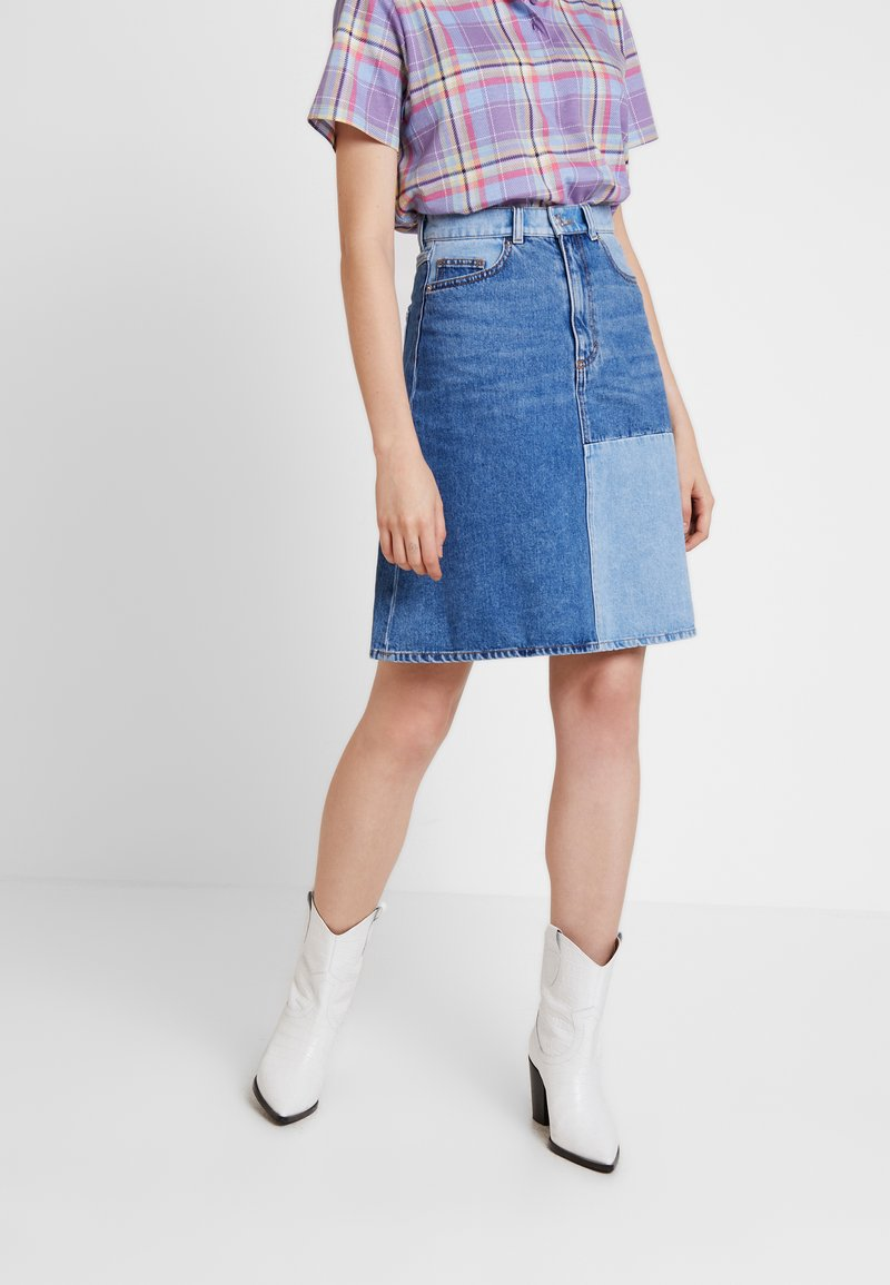 Monki - MAJA SKIRT - A-line skirt - blue-denim