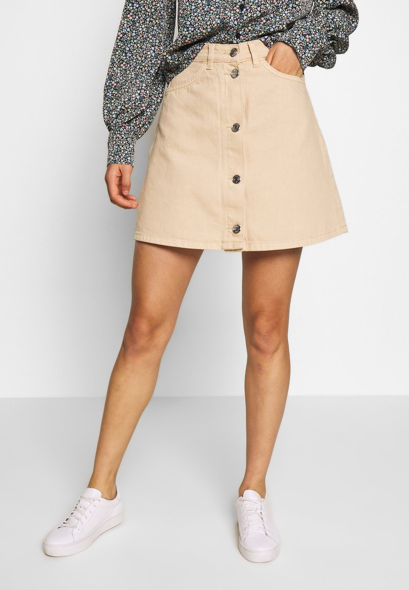 Monki - MARY SKIRT - Gonna a campana - light beige