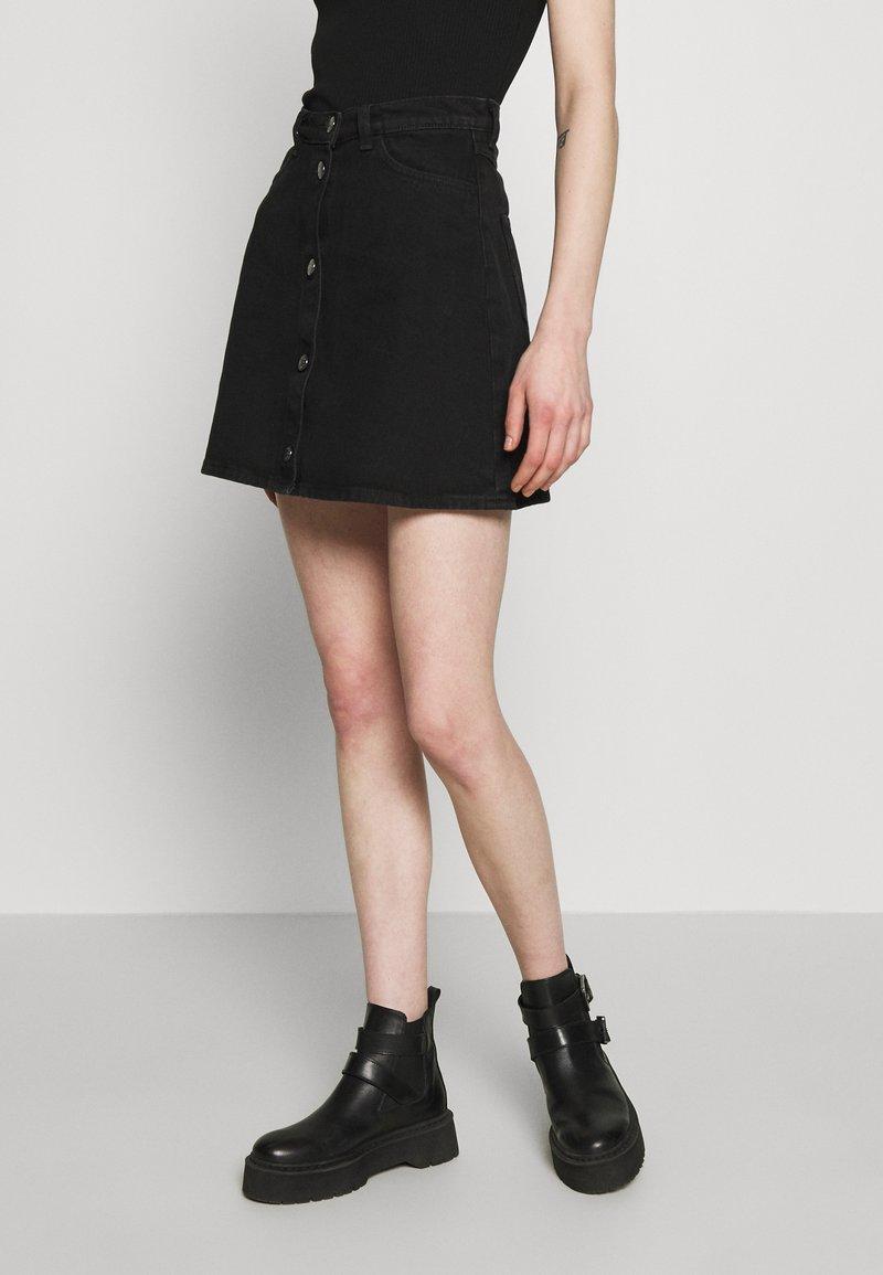 Monki - MARY SKIRT - A-line skirt - dark black