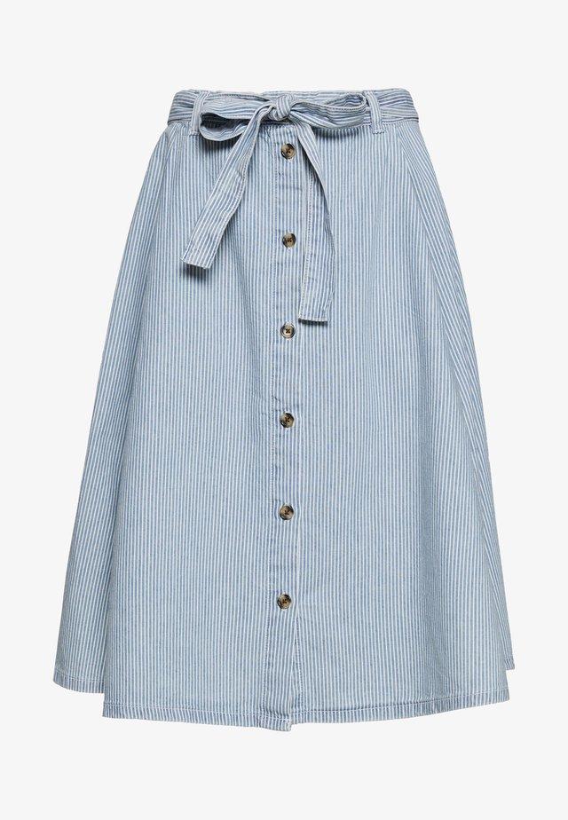 REGINA SKIRT - Spódnica trapezowa - blue medium dusty blue/white