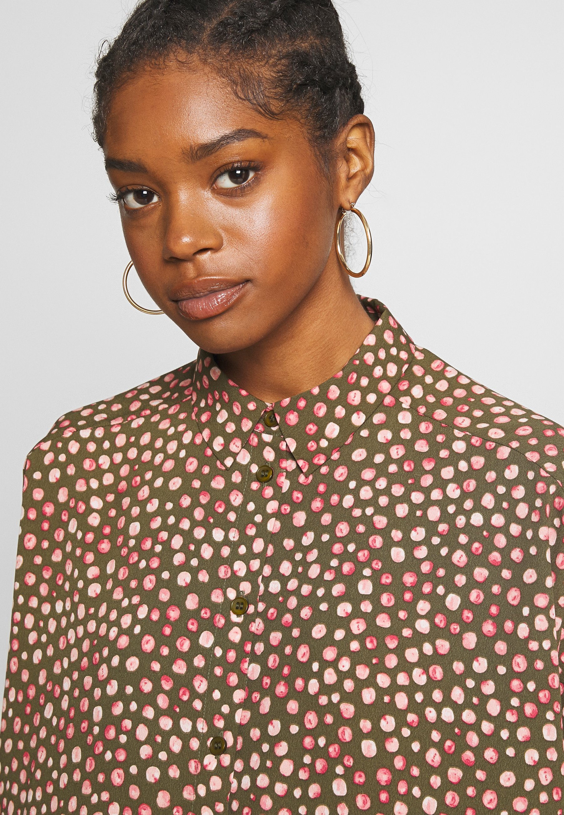 Monki Tomi Dress - Shirt Khaki/pink