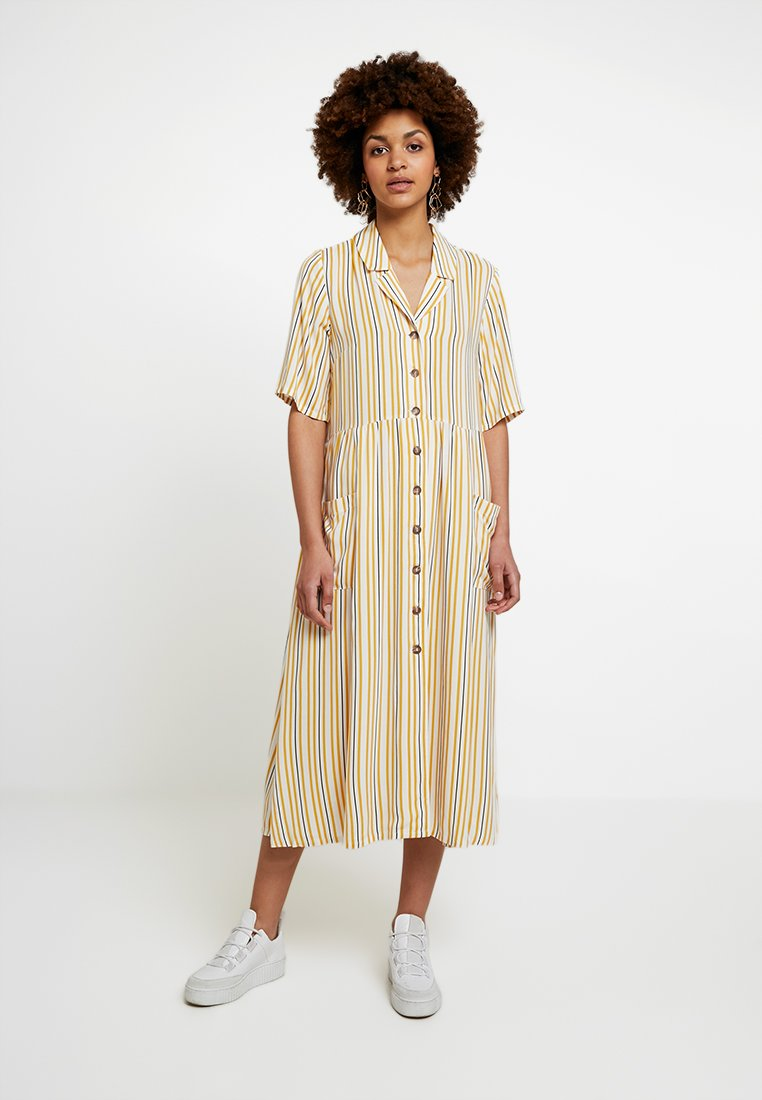 Monki - MATTIS DRESS - Skjortekjole - yellow/white/black