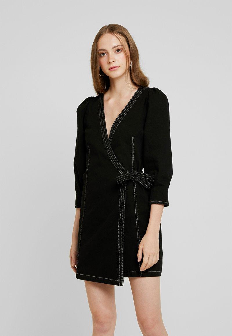 Monki - AYLA DRESS - Denim dress - black