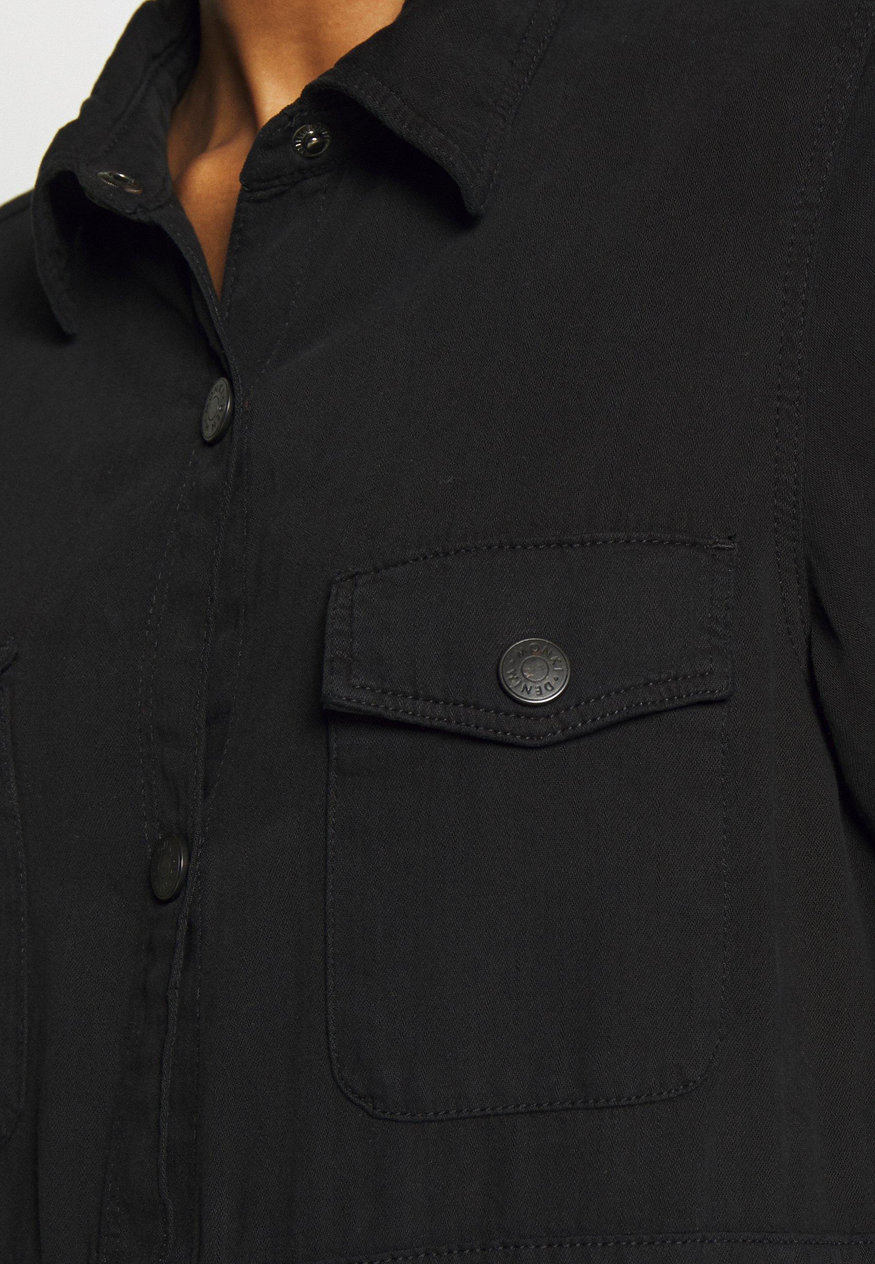 Monki JAMIE DRESS - Sukienka jeansowa - black dark