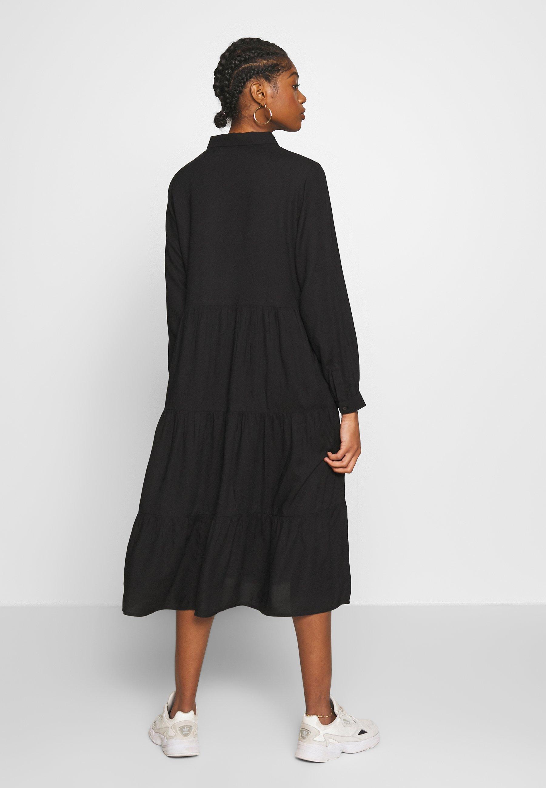Monki Pearl Dress - Robe Chemise Black Dark Unique