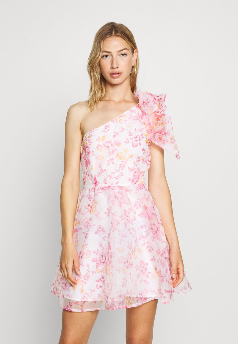 Monki - CAMILLE DRESS - Cocktailjurk - white/pink