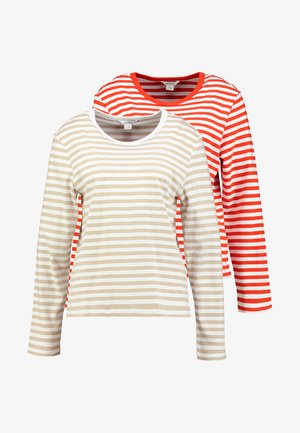 URSULA 2 PACK - Langærmede T-shirts - red/offwhite/beige/offwhite