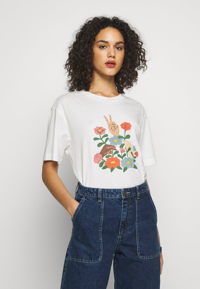 Monki - TOVI TEE - Camiseta estampada - white light