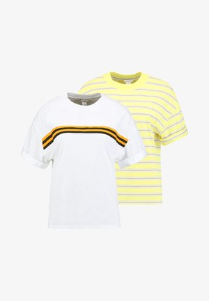 BARKA UNIQUE 2 PACK - T-shirt med print - yellow/white