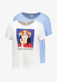 Monki - SIMBA TEE 2 PACK - Triko spotiskem - white/blue - 3