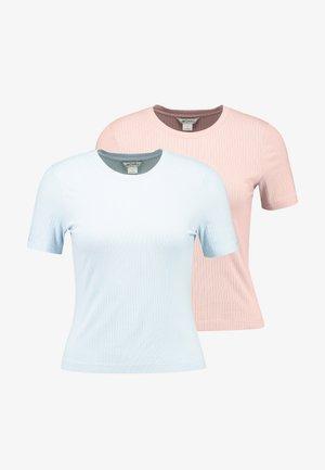 LILIAN 2 PACK - Basic T-shirt - blue/dusty pink