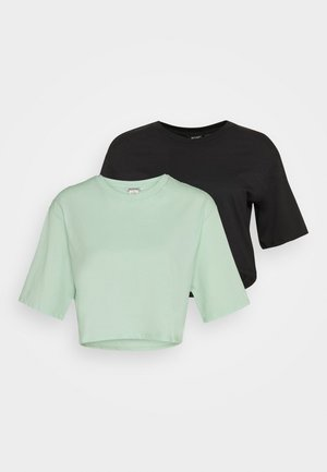 ELINA TOP 2 PACK - T-shirt basic - green dusty light/white