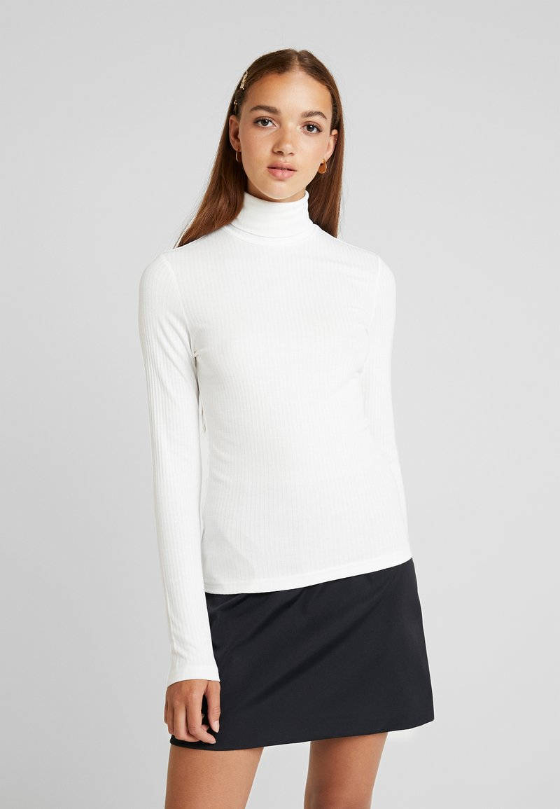 Monki - ELIN POLO - Long sleeved top - offwhite