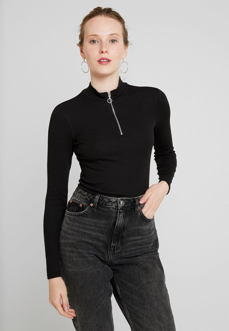Monki - KIM ZIP - Long sleeved top - black dark unique