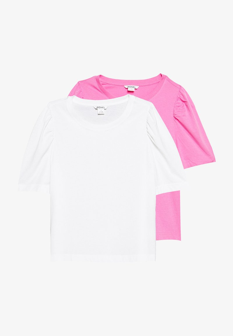 Monki - TUGBA TEE 2 PACK - T-shirts - white light/pink