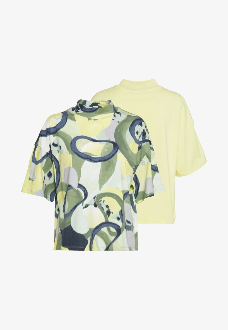 Monki - INA 2 PACK  - T-shirt basic - yellow/khaki green