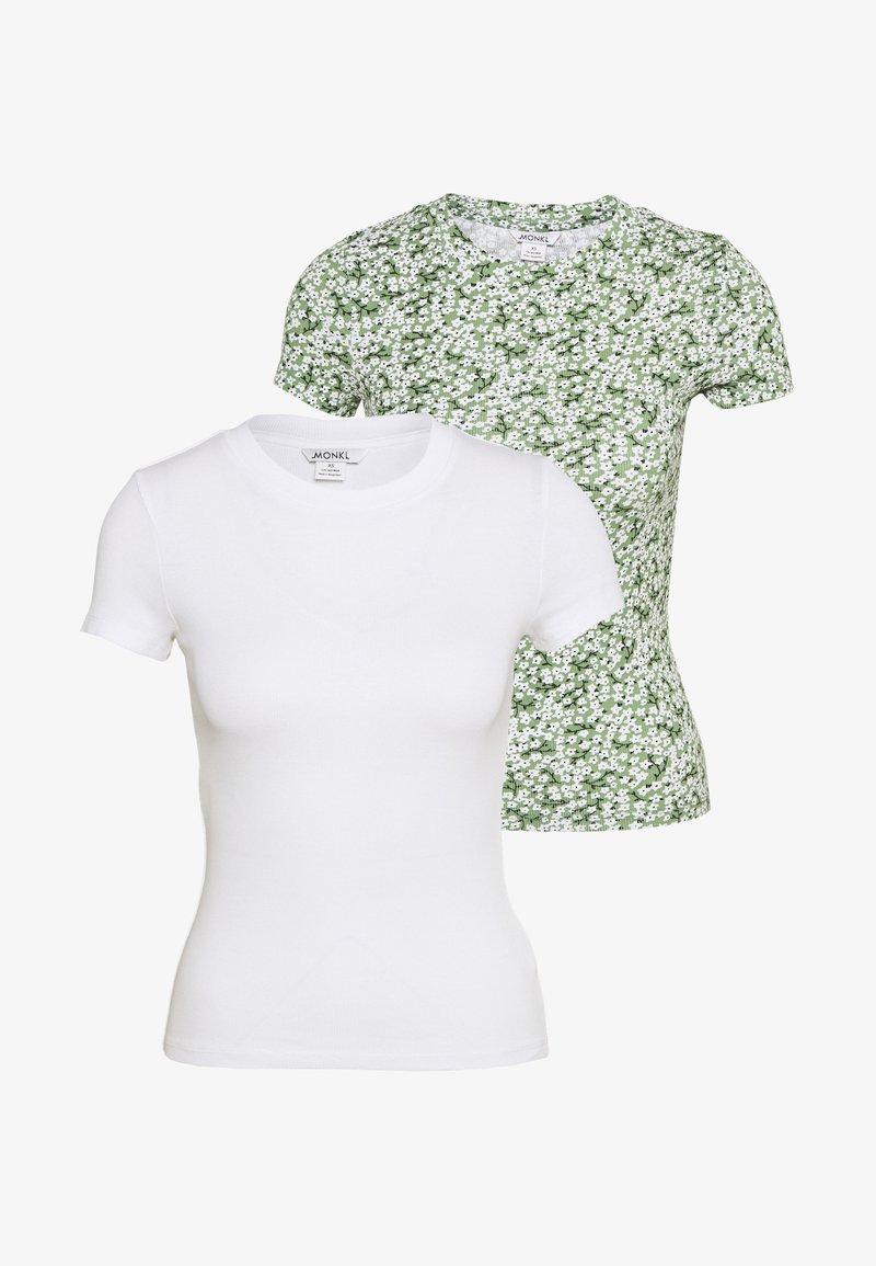 Monki - MAGDALENA TEE 2 PACK - T-shirts med print - green medium/white solid