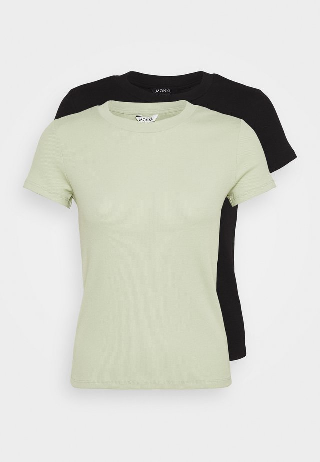 MAGDALENA TEE 2 PACK - Print T-shirt - green dusty light/black