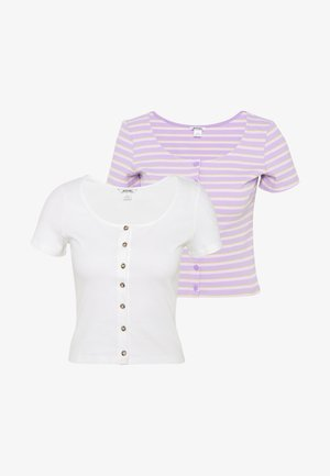 QUINNY TOP 2 PACK - T-shirts med print - yellow medium dusty/white