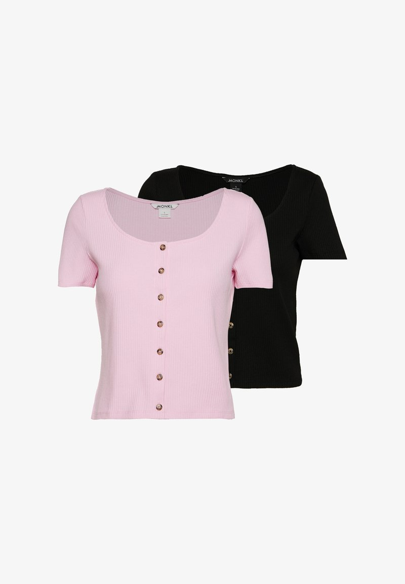 Monki - QUINNY TOP 2 PACK - T-Shirt print - pink light/black