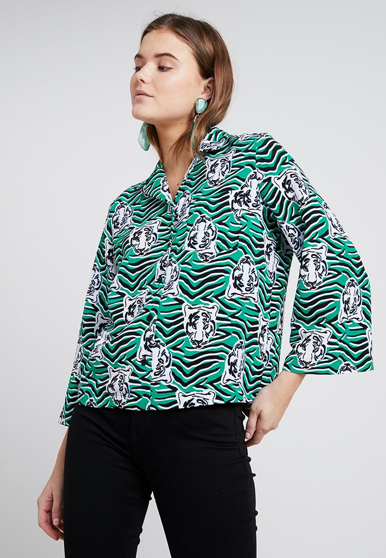 Monki - ANNELIE BLOUSE - Button-down blouse - green/black